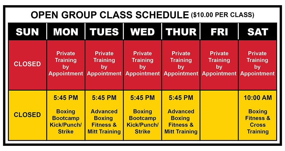 Absolute Boxing Sarasota - Boxing Fitness Classes Schedule